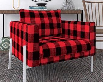 IKEA KOARP Armchair Covers, Farmhouse Buffalo Check Plaid Black Red Chair Cover