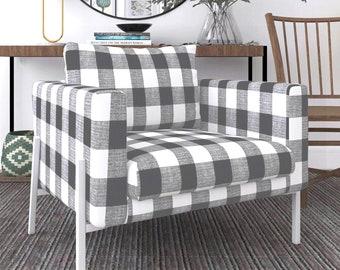 IKEA KOARP Armchair Covers, Farmhouse Buffalo Check Plaid Dark Gray Chair Cover