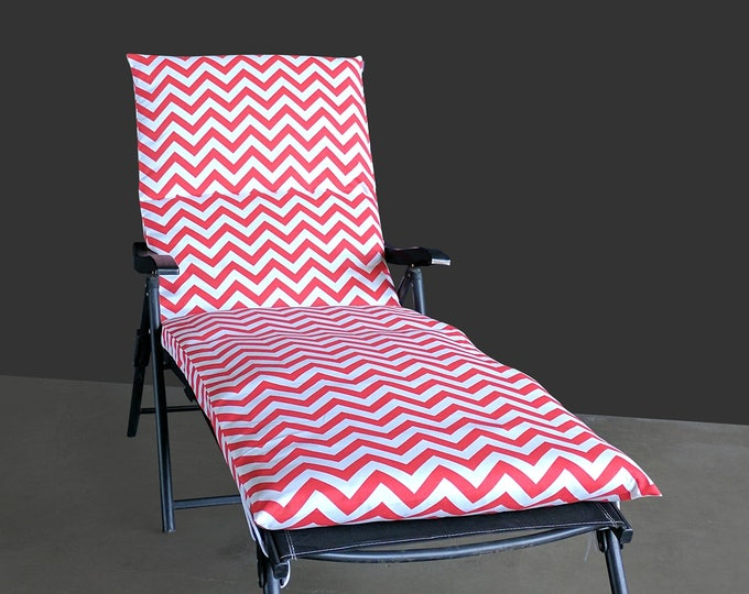 IKEA OUTDOOR Slip Cover, Multiple Prints Outdoor Covers, Chaise Pad Cover, Chair Pad Cover, Zig Zag Chevron Coral