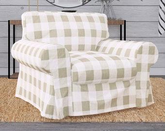 IKEA Ektorp Armchair Covers, Farmhouse Buffalo Check Plaid Beige Chair Cover