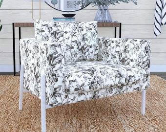 IKEA KOARP Armchair Covers, Farmhouse Black Floral Print