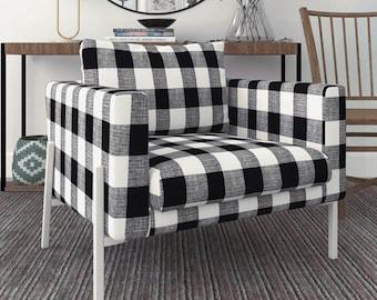 IKEA KOARP Armchair Covers, Farmhouse Buffalo Check Plaid Black White Chair Cover