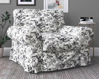 IKEA EKTORP Armchair Covers, Farmhouse Black Floral Print