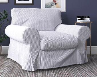 IKEA Ektorp Armchair Covers, Farmhouse Ticking Stripe Dark Gray Chair Cover