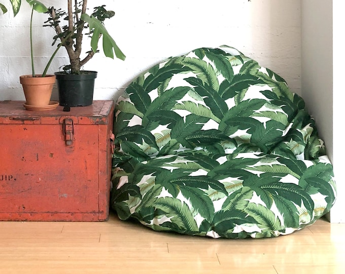 Featured listing image: Tropical Leaf Print, Custom Dihult Slipcover, Customized Ikea Floor Pillow Covers, Ikea Dihult Covers, Dog Bed Cover