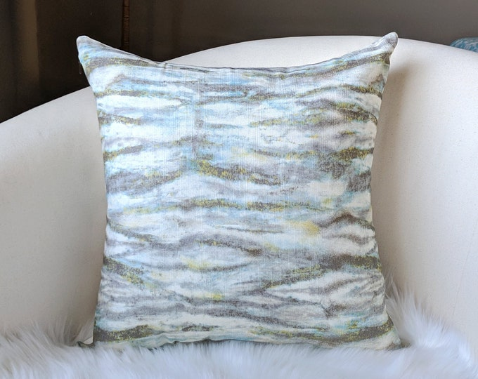 Gray Marble Watercolor Lines Pillow Cover