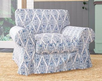 IKEA KOARP Armchair Covers, Boho Indigo Blue Chair Cover