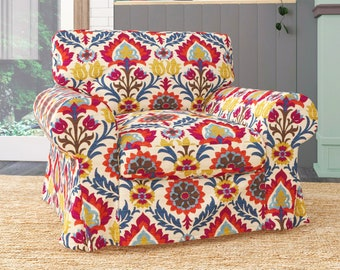 IKEA EKTORP Armchair Covers, Jewel Tones Colorful Floral Chair Cover