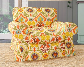 IKEA Ektorp Armchair Covers, Vintage Orange Floral Chair Cover