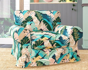 IKEA EKTORP Armchair Covers, Blush Pink, Teal Jungle Print Chair Cover