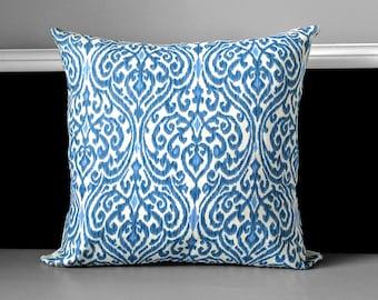 "Blue Pillow Cover - Regal Ikat, Sri Lanka Indigo 18"" x 18"", Ready to Ship"