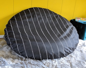 Floor Pouf, Dog Bed Cover, Dihult Slipcover, Ikea Floor Pillow Covers, Black Pinstripe