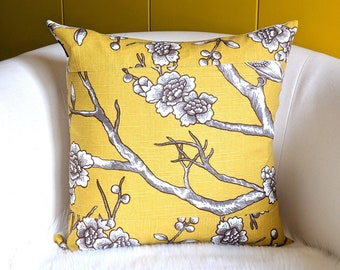 Golden Yellow Floral Patchwork Pillow Cover