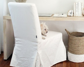 Solid White Linen Henriksdal Seat Cover