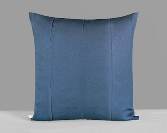 Patchwork Solid Denim Blue Pillow Cover