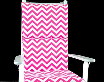 Hot Pink Zig Zag Rocking Chair Cover, Pink Chevron Adjustable Reversible Rocking Chair Cover
