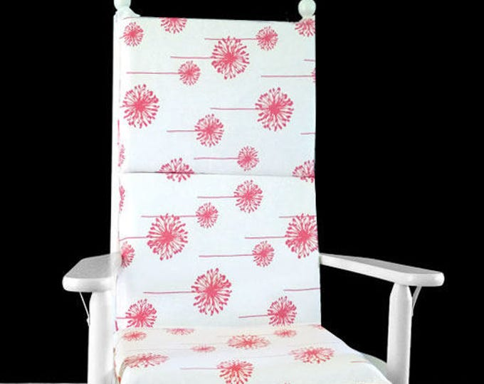 Coral Dandelion White Rocking Chair Cushion