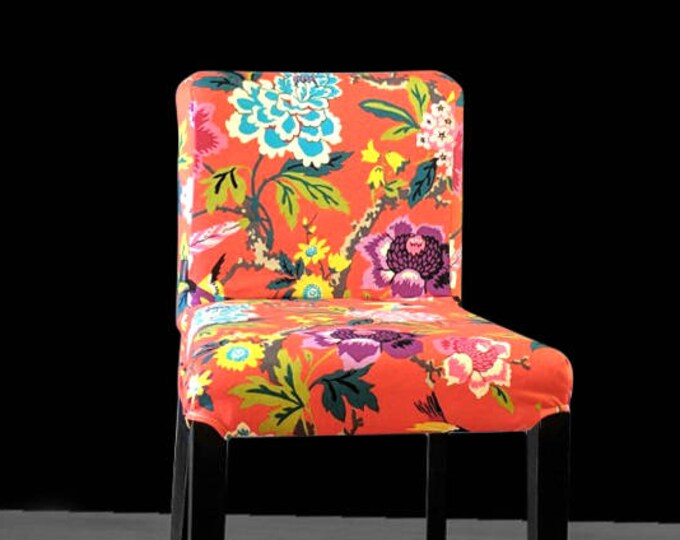 Colorful Flowers IKEA HENRIKSDAL Bar Stool Chair Cover, Red Cinnabar