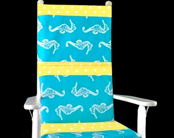 Seahorses Rocking Chair Cushion Cover, Nursery Chair Covers