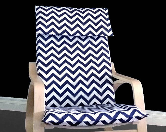 Navy Zig Zag IKEA POÄNG Cushion Slipcover, Blue Chevron Poang Chair Cover