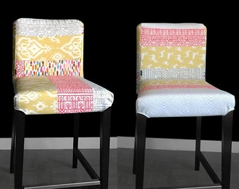 PAIR of Patchwork Ikea HENRIKSDAL Bar Stool Chair Covers