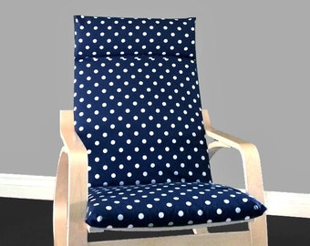 Navy Polka Dot Poang Chair Cover