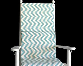 Natural Blue Chevron Rocking Chair Cushion Cover
