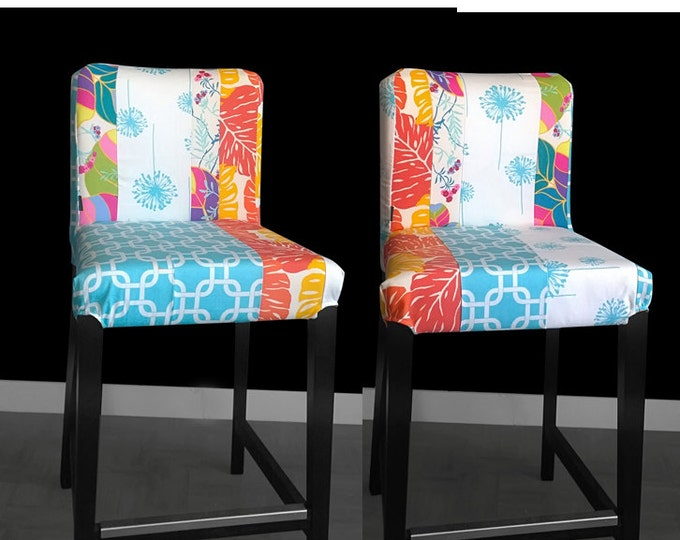 Two Leaves Flowers Ikea HENRIKSDAL Bar Stool Chair Covers