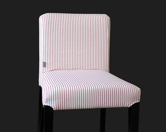 Custom Henriksdal Chair Covers, Red Ticking Stripe Ikea Seat Cover