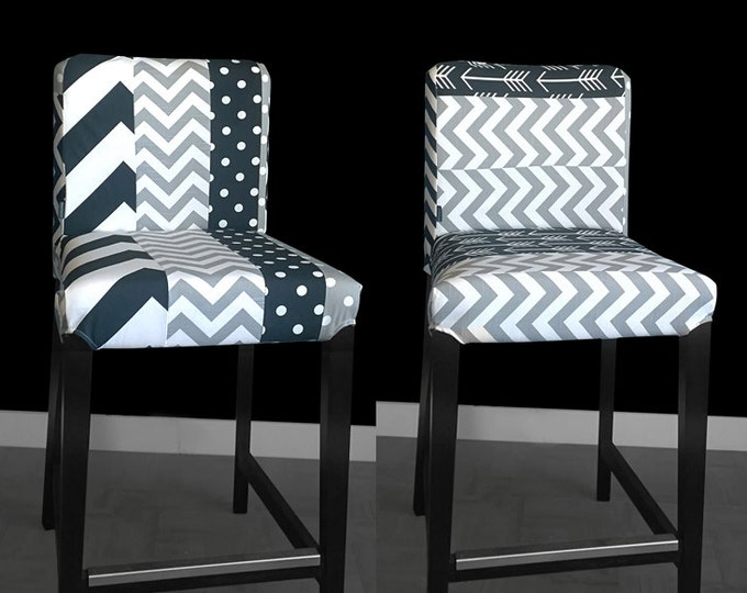 PAIR Of Patchwork Ikea HENRIKSDAL Stool Covers, Two Custom Henriksdal Chair Covers