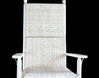 Beige Rocking Chair Cushion Covers Set
