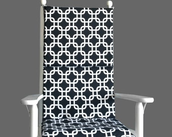Black White Squares Rocking Chair Cushion Covers