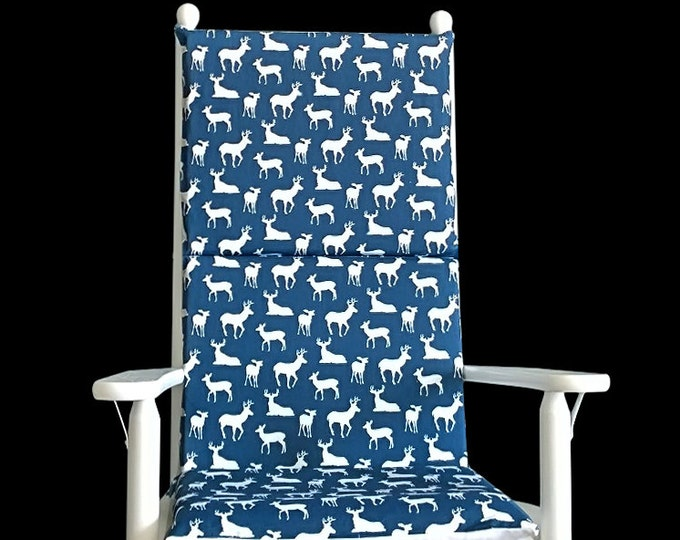Navy Deer Print Rocking Chair Covers And Inserts
