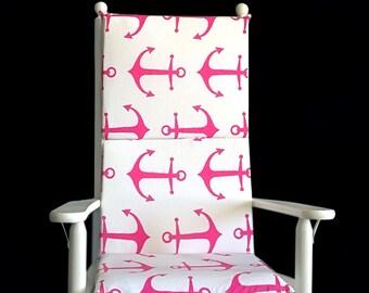 Pink Anchors Rocking Chair Cushion, Nautical Theme Seat Covers