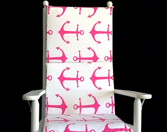 Pink Anchors Rocking Chair Cushion, Nautical Theme Seat Covers