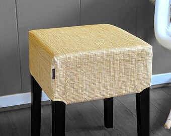 Stool Cover for IKEA Nils, Gold Honeysuckle Woven Fabric