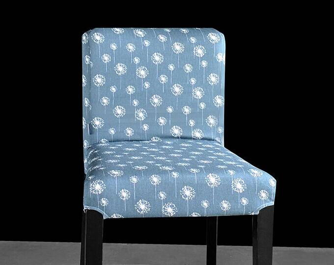 Dandelion Flower HENRIKSDAL Bar Stool Chair Cover, Gunmetal Denim Blue