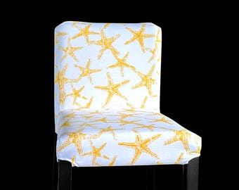 Starfish Ikea Bar Stool Cover, Starfish Henriksdal Cover, Sea Theme Ikea Covers, Yellow
