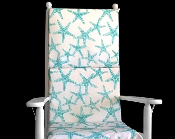 Adjustable Turquoise Starfish Rocking Chair Cover