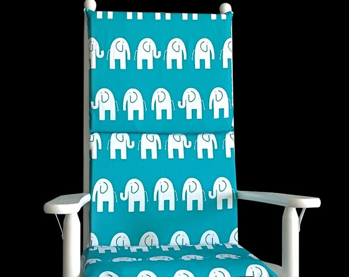 Turquoise Elephants Rocking Chair Covers, Kids Nursery Cover And Inserts
