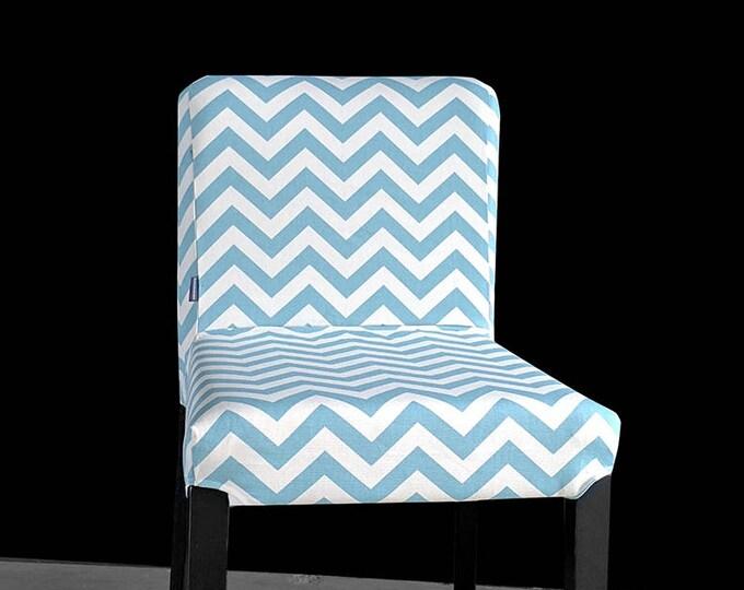 Light Denim Blue Chevron HENRIKSDAL Bar Stool Chair Cover