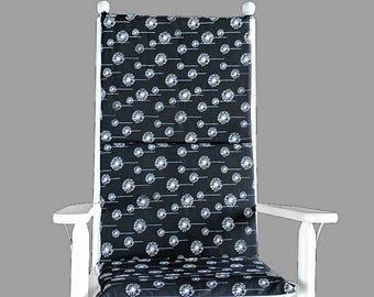 Black Dandelions Adjustable Rocking Chair Cover