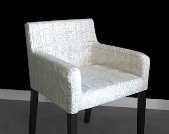 IKEA NILS Chair Slip Cover, Tribal Print Beige Devada Beechwood