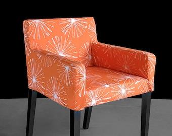 Custom IKEA NILS Chair Slip Cover, Orange Sparks, Blossom, Fireworks