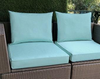 IKEA OUTDOOR Slip Cover, Plain Blue Ikea Cushion Covers, Custom Ikea Decor, Bespoke Arholma Covers, Sunbrella Mineral Blue