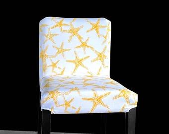 THREE Starfish Ikea Bar Stool Covers, Starfish Henriksdal Cover, Sea Theme Ikea Covers, Yellow