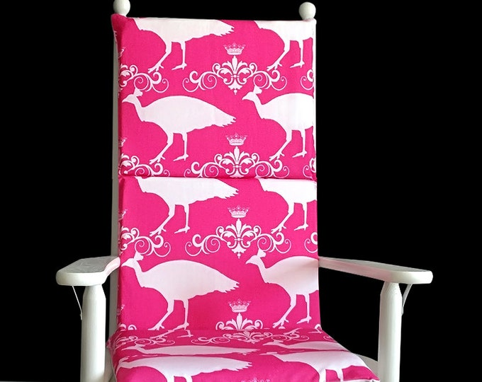Pink Peacock Rocking Chair, Adjustable Straps Rocking Chair Covers And Inserts