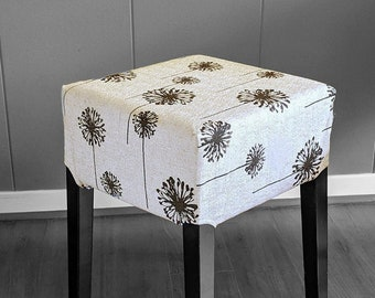 Farmhouse Linen Dandelion Print IKEA Stool Cover