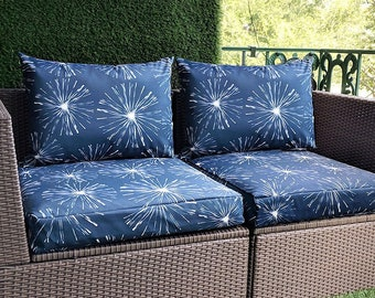 Navy Blue Blossoms, Fireworks Print, IKEA OUTDOOR Slip Cover, Ikea Kungso Cushion Covers, Custom Ikea Decor, Bespoke Arholma Covers