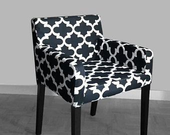 IKEA NILS Chair Slip Cover, Moroccan Print Black